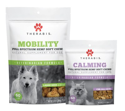 The new Therabis Veterinarian Formula line of hemp-based pet wellness supplements includes cannabinoids and other approved natural ingredients designed to deliver targeted support to pets. (CNW Group/Dixie Brands, Inc.)