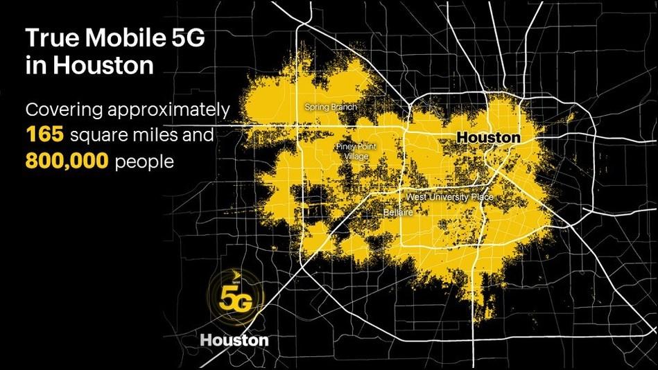 La próxima generación de servicio inalámbrico ya está aquí; cubre aproximadamente 165 millas cuadradas y llega a 800,000 personas en todo Houston.