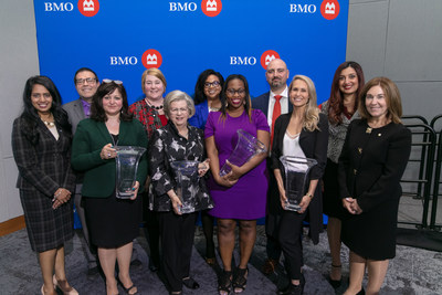 Rajini Nagendran, BMO Financial Group; John Sacke, BMO Financial Group; Rose Perri – Trailblazers & Innovators Honouree; Sheri Griffiths, BMO Financial Group; Margaret Hachey – Trailblazers & Innovators Honouree; Kim Johnson, BMO Financial Group; Tanya Hayles – Community & Charitable Giving Honouree; Rob DiBlasio, BMO Financial Group; Kristen Gale – Expansion & Growth in Business Honouree; Samra Zafar – BMO Financial Group; Sandra Henderson, BMO Financial Group. (CNW Group/BMO Financial Group)