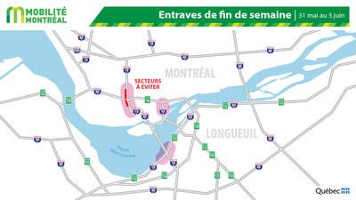 Carte générale des entraves, fin de semaine du 31 mai (Groupe CNW/Ministère des Transports)