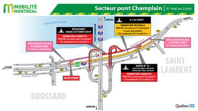 Fermetures secteur pont Champlain à Brossard, fin de semaine du 31 mai (Groupe CNW/Ministère des Transports)