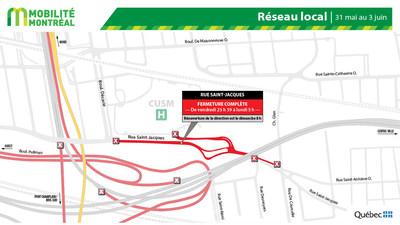 Rue Saint-Jacques et réseau local, fin de semaine du 31 mai (Groupe CNW/Ministère des Transports)