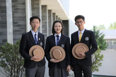 Harrow Beijing Graduate of 2019 Student Representatives Simon Y, Vicky Z, and Toby W.