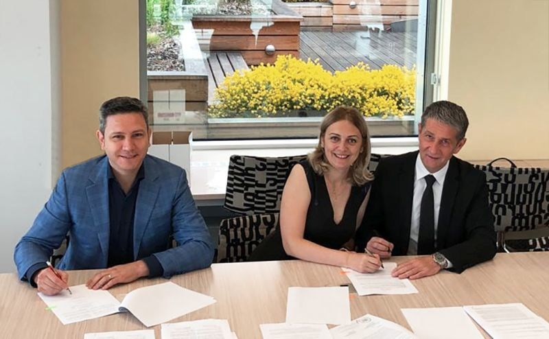 Zentiva announces completion of Solacium Pharma acquisition. (L-R: Tony Trasca, General Manager Solacium; Mihaela Scarlatescu, Head of Legal & Compliance A&D Pharma; Carol Blery, CFO Zentiva). (PRNewsfoto/Zentiva Group)