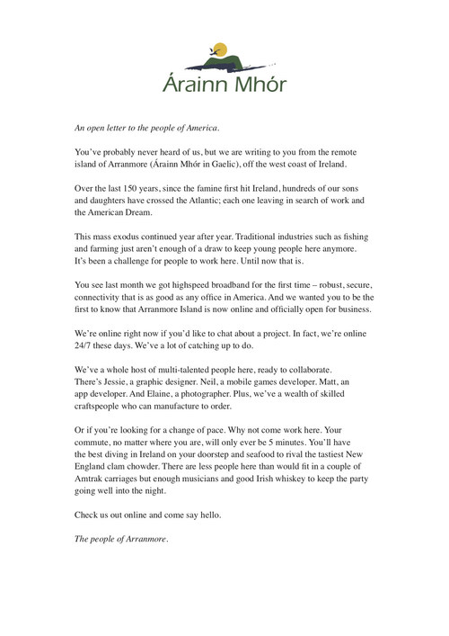 Open letter to the people of America from the people of the remote Irish island of Arranmore
