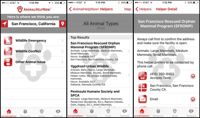 Sample screen shots from Animal Help Now (AHNow) iPhone app.
