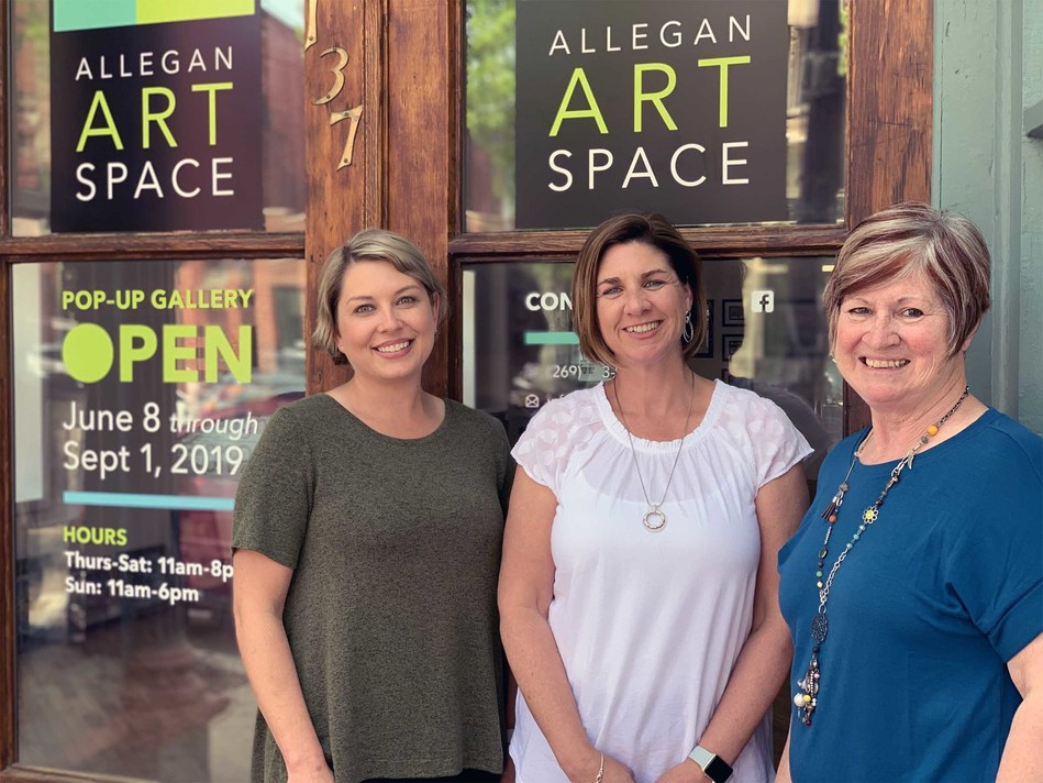 The Grand Opening for Allegan Art Space at 137 Brady Street, Allegan, Michigan is scheduled for Saturday, June 8. Pictured from left to right, Jill Mattern, (Project Organizer), Michelle Liggett (Gallery Owner), and Alva Morgan (Local Artist and Volunteer).