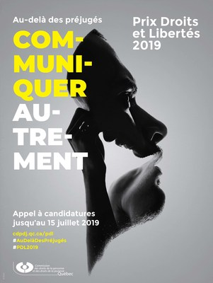 Affiche du Prix Droits et Libertés 2019 (Groupe CNW/Commission des droits de la personne et des droits de la jeunesse)