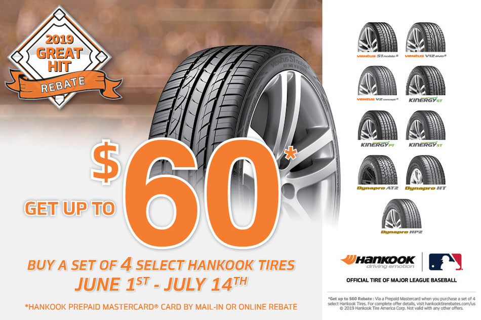 With Hankook's 2019 Great Hit Rebate, consumers can save up to $60 on nine of Hankook's most popular passenger and light truck tire models.