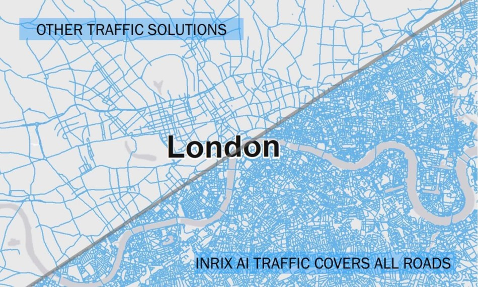 INRIX AI Traffic leverages deep learning to provide instantaneous updates to traffic conditions and pinpoints traffic speeds in different lanes to deliver the most accurate ETAs on every road