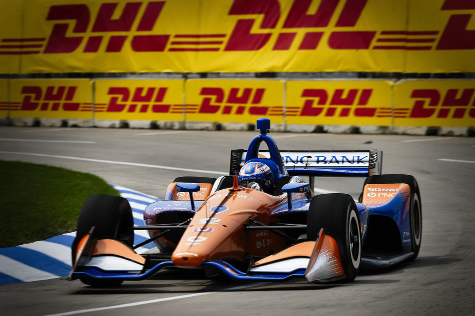 """Scott Dixon took his Honda to victory today in the second race of the doubleheader """"Dual in Detroit"""" NTT IndyCar Series weekend on the Belle Isle street circuit."""