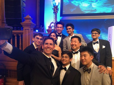 "Valley Christian Schools NOAA ""Bonus Prize"" winners pause for a celebration selfie at the Oceanographic Museum of Monaco.  The team made history as the youngest finalists ever to compete in any XPRIZE competition.  (L-R)  Ansel Austin, Stephen Huber, Sumira Naroola, Micah Kim, Rohan Viswanathan, Arnav Gattani, Danny Kim, Jonah Kim and Mihir Kasmalkar."