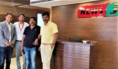 (From left to right) Mr. Ranjit Bhatti (Director, LiveU South Asia), Mr. Manikandan Velu (CTO of NewJ), Mr. Radhakrishnan (Managing Directors of NewsJ), Mr. Vitalis Noble Martin, (Business Head - South India, Lamhas Satellite Services Limited)