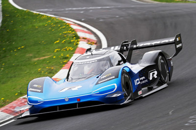 Volkswagen's all-electric race car captures second consecutive electric vehicle speed record, showcasing e-mobility prowess.