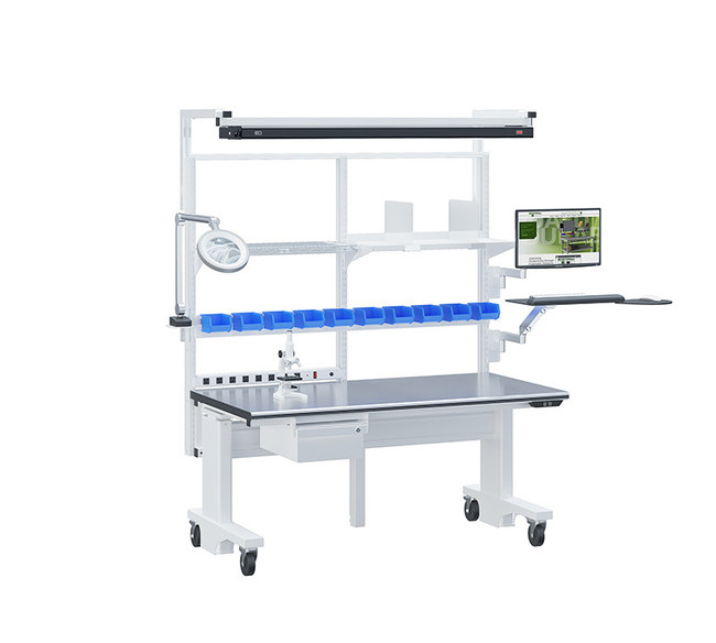 BOSTONtec is showing an electric height-adjustable ergonomic workstation typical for the medical assembly market.