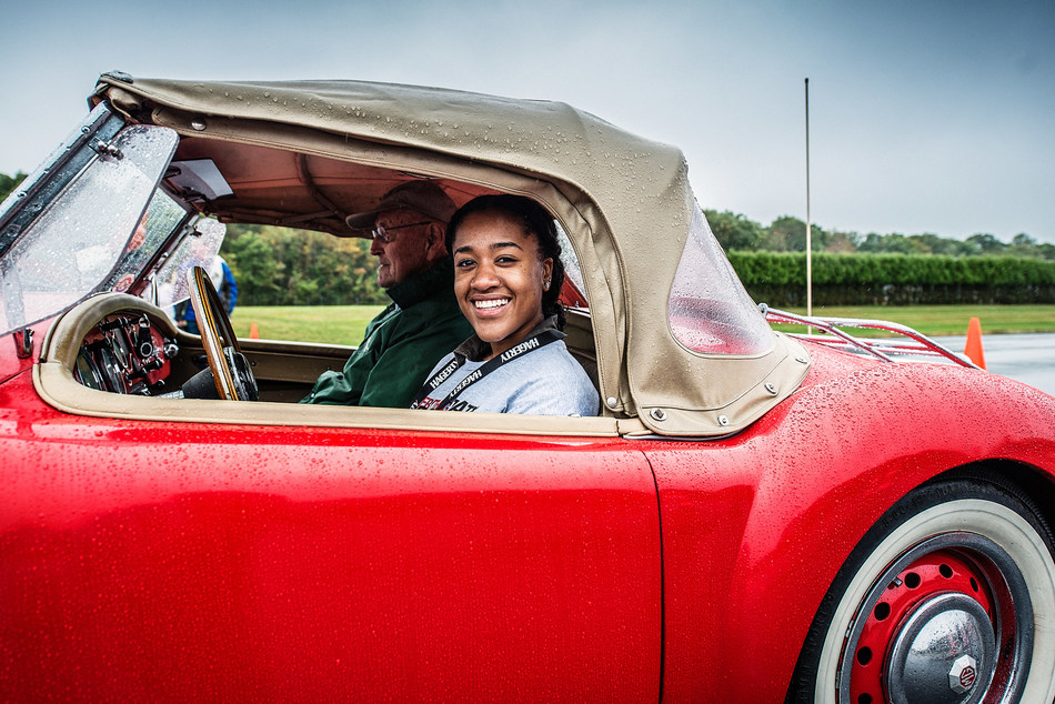 Young driver participates in Hagerty Driving Academy which teaches safe, proficient and advanced performance driving skills. Hagerty's youth driving programs are part of its ongoing mission to save driving for future generations.