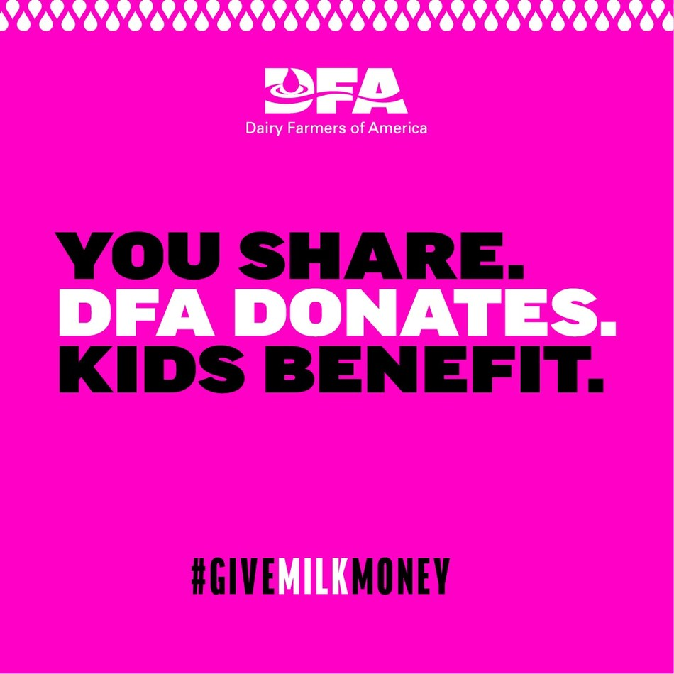 Throughout the month of June, Dairy Farmers of America (DFA) is helping to close the summer nutrition gap for students who rely on school lunch programs. For each social post, using #GiveMilkMoney, DFA will donate one gallon of milk to help kids in need through Feeding America food banks across the country.