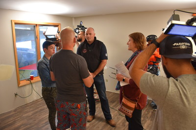 Pre-shoot rehearsal with Chad Huennekens, president, United States Alliance Fire Protection, Ryan Stanley, Designing Spaces Host, Peg Paul, PPA Communications and Christi Arce, producer, designing Spaces.