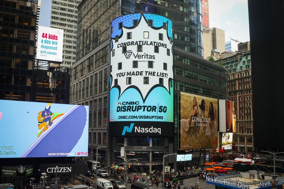 Veritas on the Nasdaq building in Time Square, NYC, thanks to being included for the second consecutive year as one of Disruptor 50 Companies of CNBC (PRNewsfoto/Veritas Intercontinental)