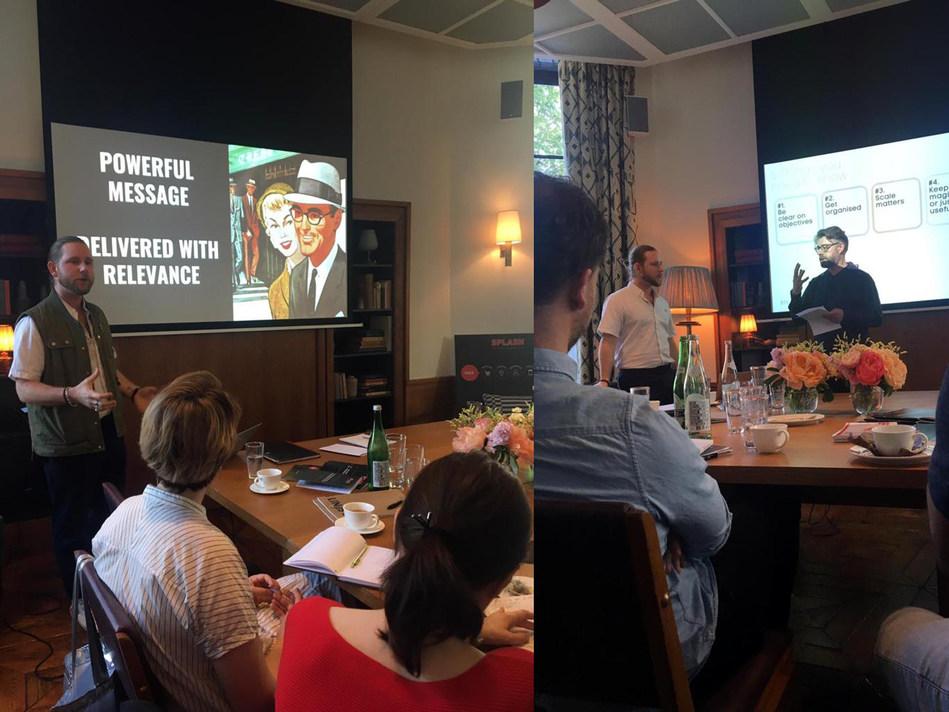 "Splash's Global Creative Director Chris Goddard and Chief Strategy Officer Alastair Duncan present ""Dynamic Creative: Friend or Foe?"" in Amsterdam. (PRNewsfoto/Splash Worldwide)"