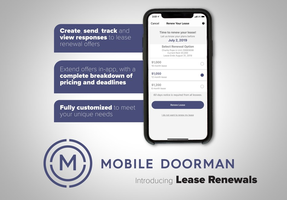 Mobile Doorman launches its all-new in-app Lease Renewal functionality, a fully customizable feature helping to bridge common communication barriers during the renewal process.