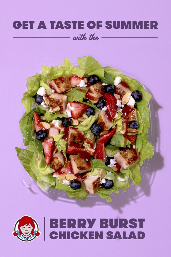 The Berry Burst Chicken Salad returns to Wendy's line of freshly made salads this summer. Featuring hand-cut strawberries, juicy blueberries and crumbled feta cheese on a bed of crisp lettuce, each salad is topped with a warm, freshly grilled all-white meat chicken breast, toasted almonds and accompanied by Marzetti® Simply Dressed® Raspberry Vinaigrette.