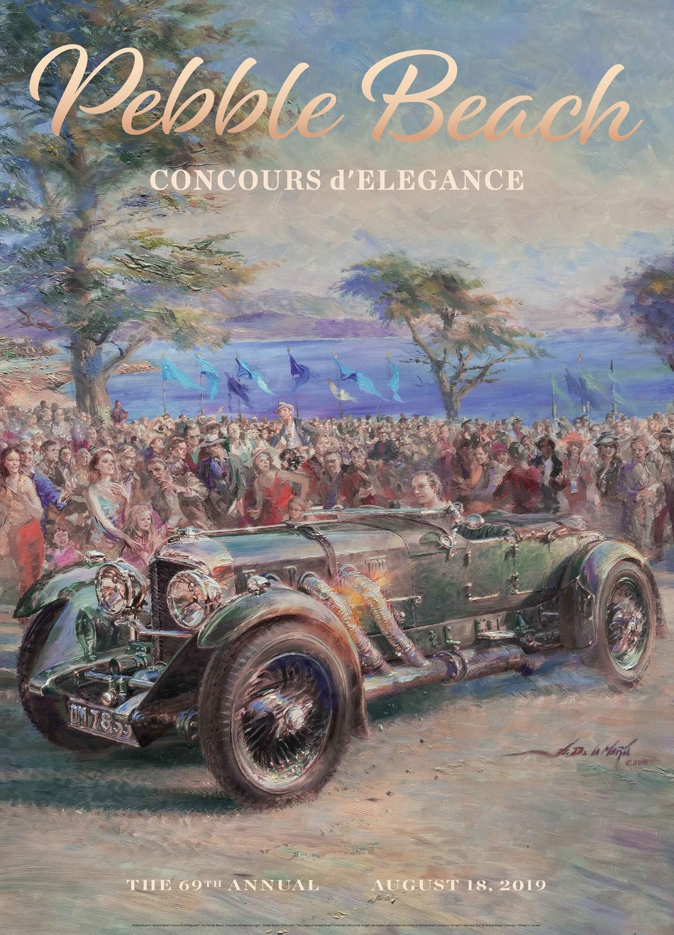 The 2019 Pebble Beach Concours d'Elegance poster, painted by renowned impressionist Alfredo De la Maria, features what is likely the world's most coveted Bentley 8 Litre. Ordered by pioneering Welsh aviator and Brooklands racer Captain Vivian Hewitt, it was the ultimate sporting machine, pairing a short chassis with a lightweight body, massive power (witness the enormous side exhaust) and large Le Mans–style fuel tank and gauges. Now owned by Daniel Sielecki, it remains an unrestored original.