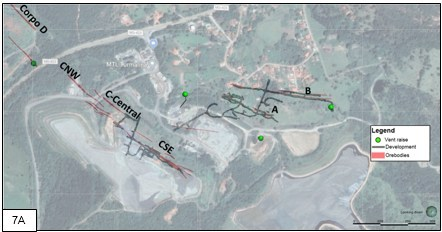Figure 7A and 7B. Plan view of Turmalina showing the position of Orebody B relative to Orebodies A and C, C-SE, C-Central and C - NW and possible mining access options from development relative to Orebody A. Figure 7A shows mine development at level 3 showing the proximity of Orebody B to Orebody A and showing location of ventilation raises on both orebodies. Figure 7B shows a closer view of the position of Orebody B in the hanging wall to and relative to Orebody A and showing a potential access drift position from Orebody A to Orebody B (CNW Group/Jaguar Mining Inc.)