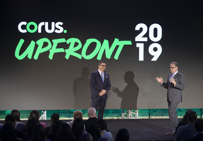 Doug Murphy, President & CEO, and Greg McLelland, EVP and Chief Revenue Officer, welcome guests to Corus' 2019 Upfront presentation (CNW Group/Corus Entertainment Inc.)