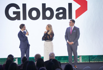 Corus' EVP of Broadcast Networks, Troy Reeb, and ET Canada's Cheryl Hickey, welcome Tom Payne from new Global drama Prodigal Son (CNW Group/Corus Entertainment Inc.)