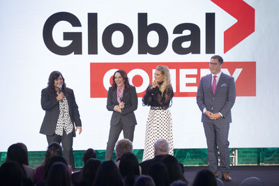 Corus' EVP of Broadcast Networks, Troy Reeb, and ET Canada's Cheryl Hickey, welcome Patrica Heaton and Sabrina Jalees from new Global comedy Carol's Second Act (CNW Group/Corus Entertainment Inc.)