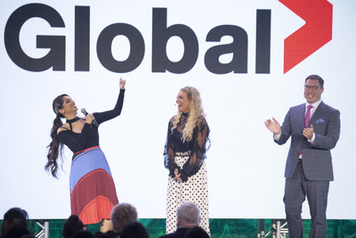 Corus' EVP of Broadcast Networks, Troy Reeb, and ET Canada's Cheryl Hickey, welcome Lilly Singh from Global's new late night series A Little Late with Lilly Singh (CNW Group/Corus Entertainment Inc.)