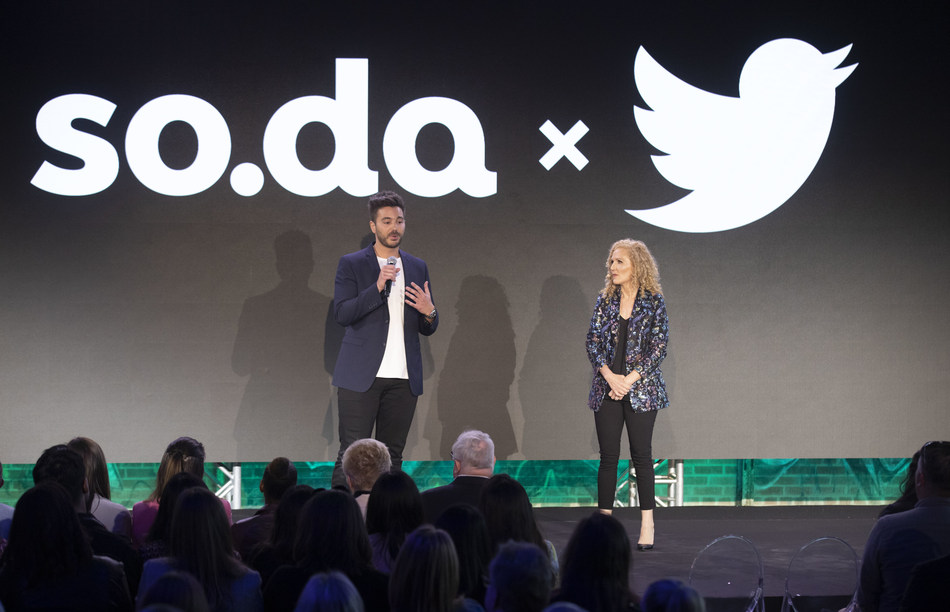 Dervla Kelly, Corus' SVP of Marketing and Head of so.da, is joined by Michael Palombo, Head of Entertainment & Lifestyle Content Partnerships at Twitter Canada, to talk about the launch of Twitter Originals, fueled by so.da (CNW Group/Corus Entertainment Inc.)