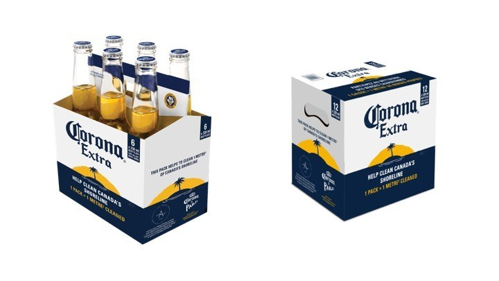 For every specially marked Corona case sold in Canada, one square metre of Canadian shoreline will be cleaned, with the goal of cleaning 850,000 square meters this summer. (CNW Group/Corona)