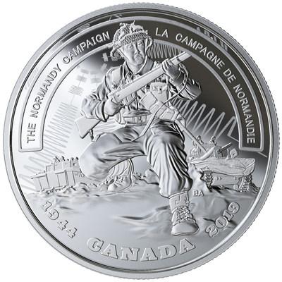 Moneda de plata de la Real Casa de la Moneda de Canadá que marca el 75 aniversario de la Campaña de Normandía