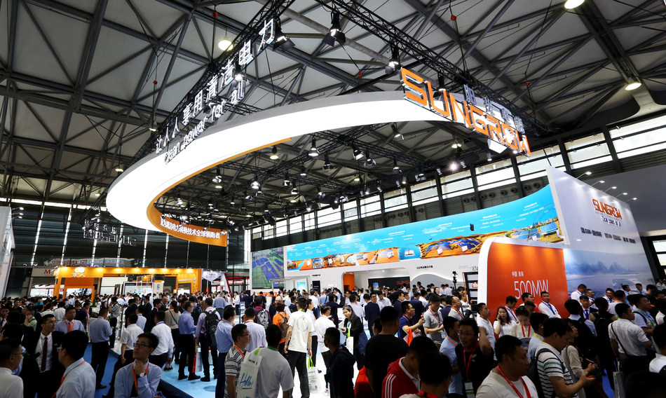 Sungrow Booth at SNEC 2019 (PRNewsfoto/Sungrow Power Supply Co., Ltd)