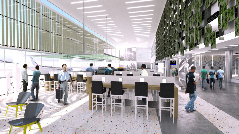Renderings of a redeveloped Concourse F and an expanded, consolidated Central Terminal security checkpoint