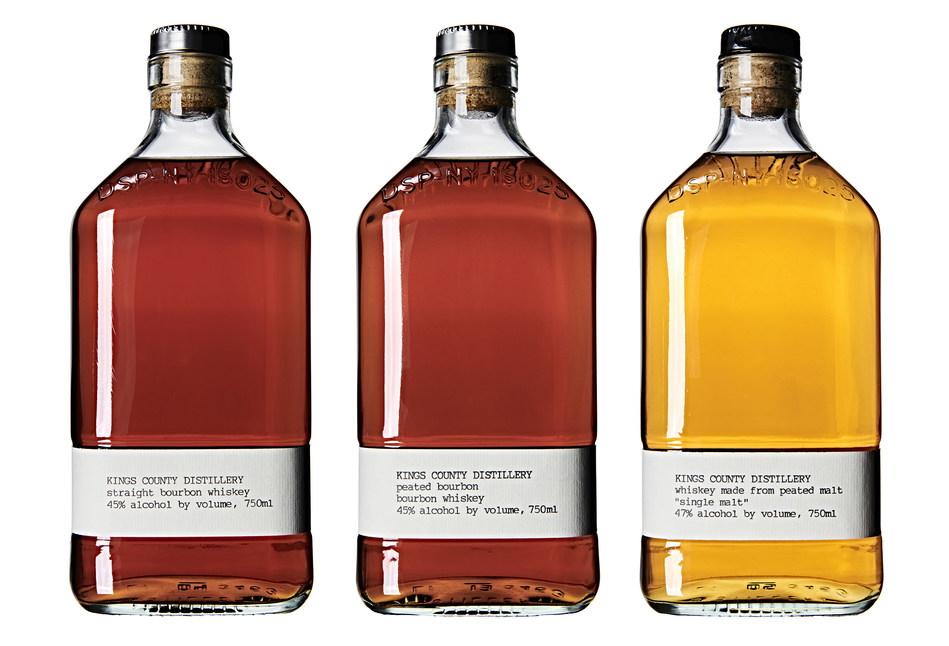 New Custom 750ml Bottles of Straight Bourbon, Peated Bourbon, and Single Malt Whiskey from Kings County Distillery