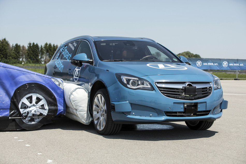 ZF presented the world's first pre-crash occupant safety system with an external side airbag that can deploy before a collision. It can help reduce occupant injury severity for side impact collisions by up to 40 percent.