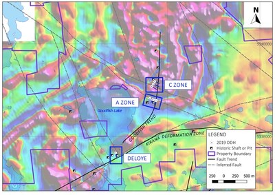 Map 2. Location of winter drilling areas: Deloye, A Zone and C Zone on regional magnetic map. (CNW Group/Warrior Gold Inc.)