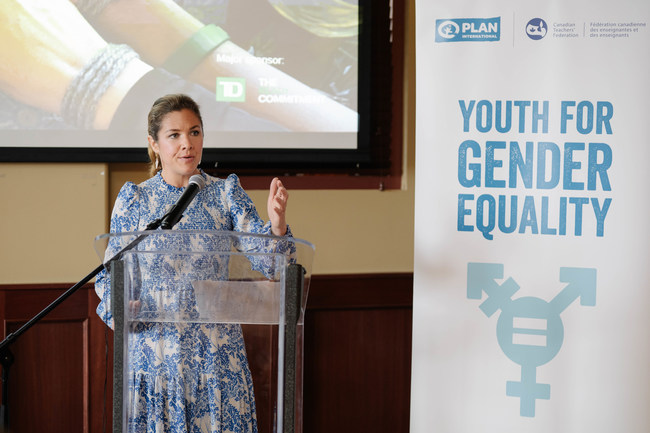 Sophie Grégoire Trudeau speaks at the Youth for Gender Equality event at Women Deliver 2019 in Vancouver to showcase the first-ever Canadian Youth-Led Roadmap for Gender Equality, co-led by Plan International Canada and the Canadian Teachers' Federation. (CNW Group/Plan International Canada)