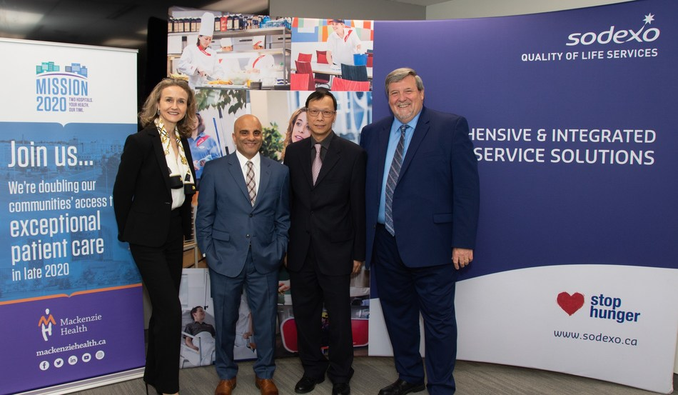 (l to r) Catherine Tabaka, CEO, Healthcare North America, Sodexo, Altaf Stationwala, President and CEO, Mackenzie Health, Richard Tam, Executive Vice President and Chief Administrative Officer, Mackenzie Health, Brian Kimmett, SVP, Healthcare Canada, Sodexo (CNW Group/Sodexo Canada)
