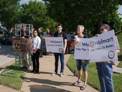 World Animal Protection staff and volunteers outside Walmart Annual General Meeting in Arkansas.