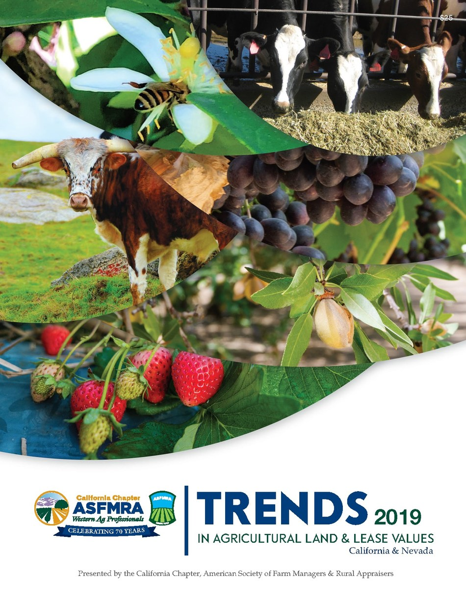 The 2019 Trends in Agricultural Land & Lease Values report is now available in both hard copy and PDF formats. This highly regarded resource tool is widely respected and the only one of its kind that provides comprehensive land value data for rural property in California and Nevada.