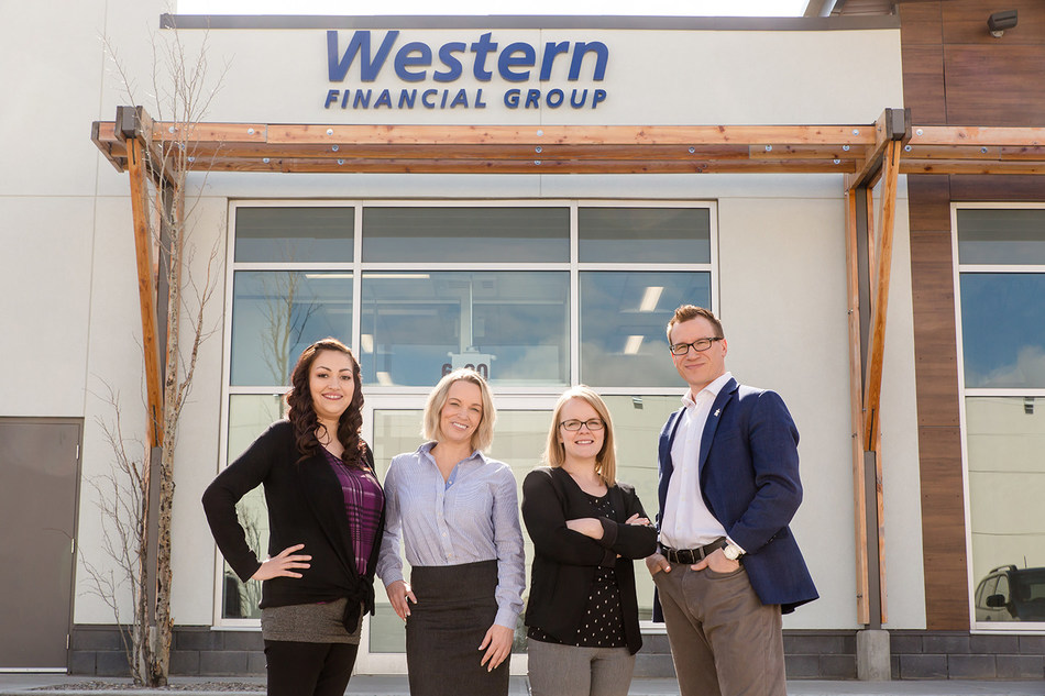 Western Financial Group has opened another brokerage in Lethbridge. Pictured from left to right are team members Jamie, Sherri, Lisa and Jeff Zanolli, Regional Director for Central Alberta. (CNW Group/Western Financial Group)