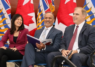 Seaspan Shipyards CEO Mark Lamarre with the Honourable Harry Bains, BC Minister of Labour and North Vancouver MLA Bowinn Ma, at the launch of the second largest Coast Guard vessel built by Seaspan under the National Shipbuilding Strategy. (CNW Group/Seaspan Shipyards)