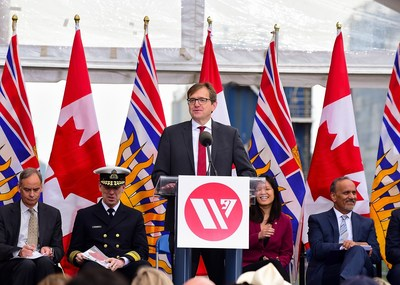 The Honourable Jonathan Wilkinson, MP for North Vancouver and Minister of Fisheries, Oceans and the Canadian Coast Guard delivers congratulatory remarks at the launch of Seaspan's second Offshore Fisheries Science Vessel. (CNW Group/Seaspan Shipyards)