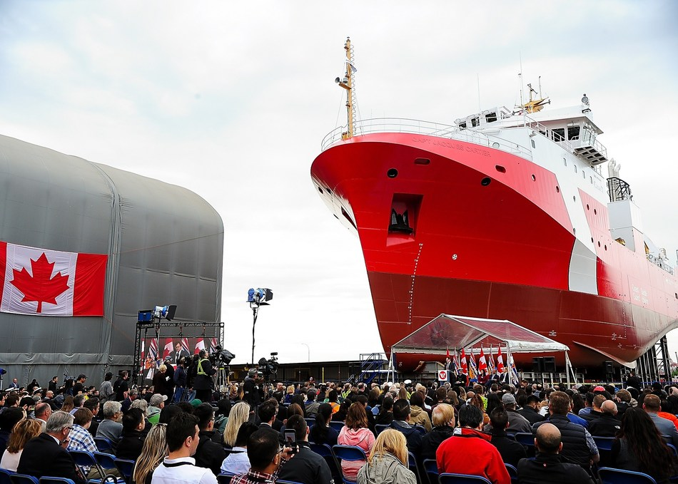 Seaspan employees and their families gathered together with suppliers and government partners to celebrate the launch of a state-of-the-art science research vessel newly built for the Canadian Coast Guard. (CNW Group/Seaspan Shipyards)