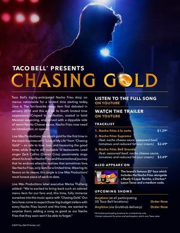 """Taco Bell's& Live Más Productions has struck gold for the first time in the music business with """"Love of My Life"""" from """"Chasing Gold"""" — an ode to love, loss, and treasuring the good times while they're still available in restaurants."""