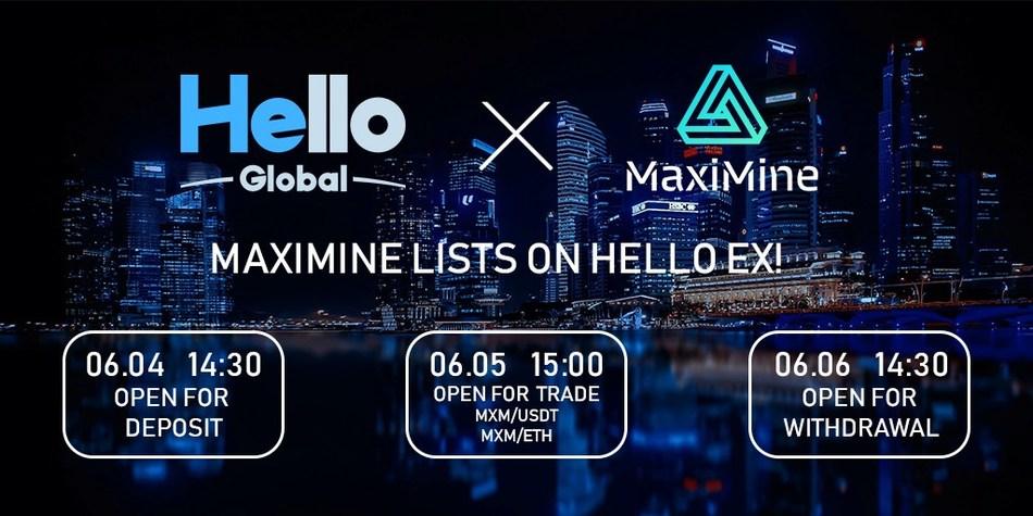 MaxiMine Listed on Hello Global (PRNewsfoto/MaxiMine)